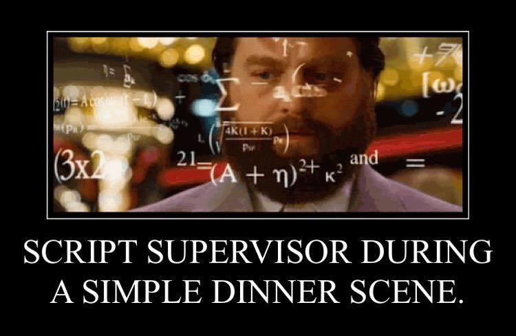 Script durante el rodaje de una simple escena de cena